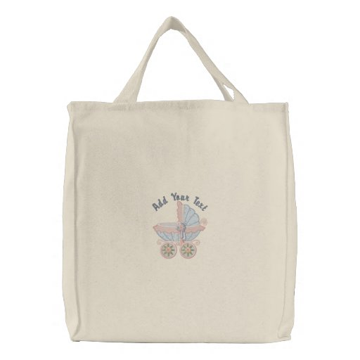 Carriage Mom To Be - Blue Embroidered Bags