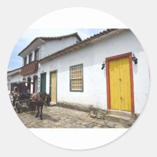 Carriage Ride On A Parati Street, Brazil Classic Round Sticker