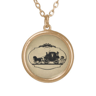 Carriage Ride With Cupid Apparel and Gifts Gold Plated Necklace