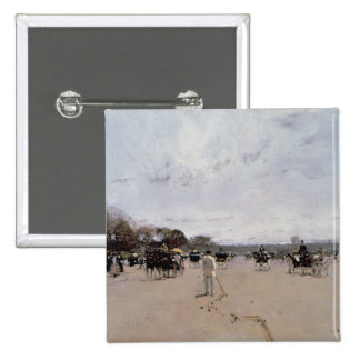 Carriages on the Champs Elysees 2 Inch Square Button