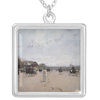 Carriages on the Champs Elysees Silver Plated Necklace