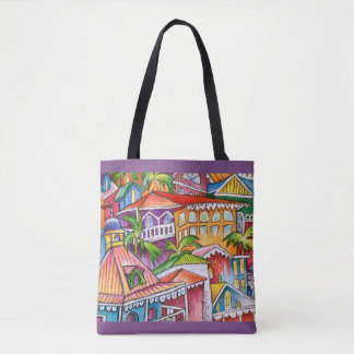 Carribean Island Rooftops Tote Bag