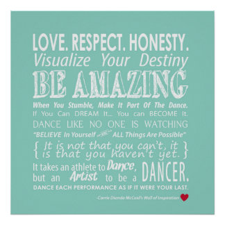 Carrie's Wall of Inspirational Dance Quotes- Aqua Poster