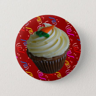 Carrot Cake Cupcake with Confetti 2 Inch Round Button