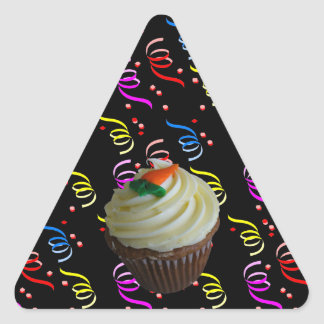 Carrot Cake Cupcake with Confetti Triangle Stickers