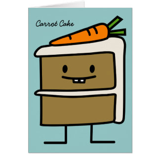 Carrot Cake slice bunny teeth icing dessert Card