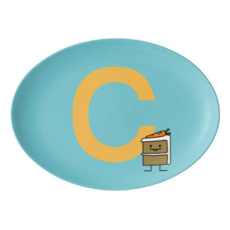 Carrot Cake Slice bunny teeth icing dessert Porcelain Serving Platter