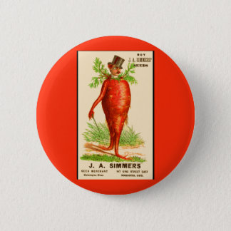 carrot man Victorian trade card 2 Inch Round Button
