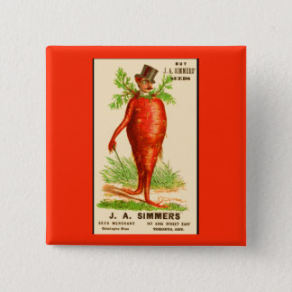 carrot man Victorian trade card 2 Inch Square Button