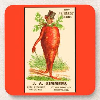 carrot man Victorian trade card Coaster