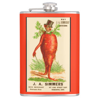 carrot man Victorian trade card Hip Flask