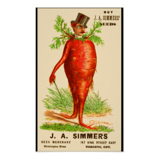 carrot man Victorian trade card Poster