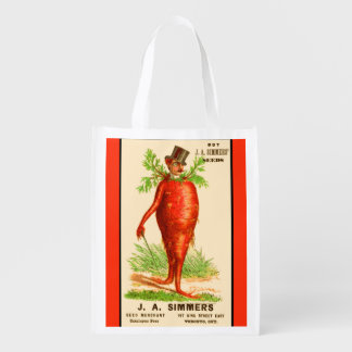 carrot man Victorian trade card Reusable Grocery Bag