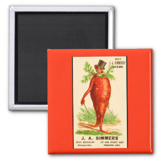 carrot man Victorian trade card Square Magnet