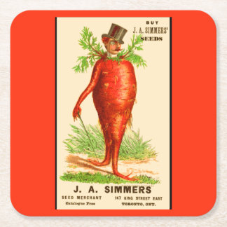 carrot man Victorian trade card Square Paper Coaster