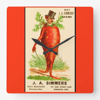 carrot man Victorian trade card Square Wall Clock