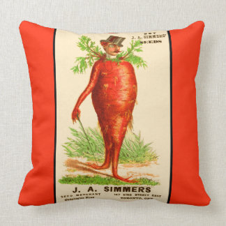 carrot man Victorian trade card Throw Pillow