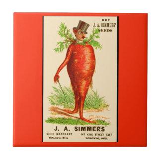 carrot man Victorian trade card Tile