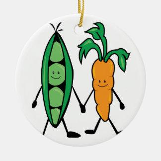 Carrot & Peas Ceramic Ornament