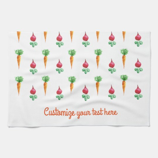 Carrots and betroots design with customizable text kitchen towel