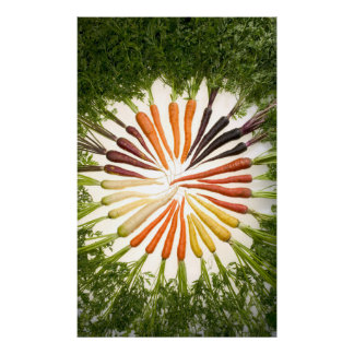 Carrots of Many Colors on Canvas Poster