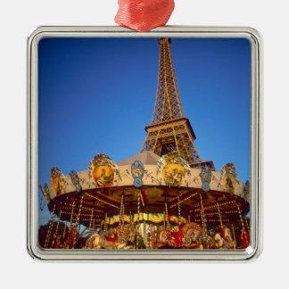 Carrousel, Eiffel Tower, Paris, France Silver-Colored Square Ornament
