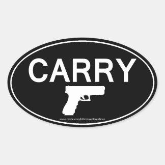 CARRY Gun Handgun Pistol Oval Sticker