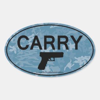 CARRY Gun Handgun Pistol Oval Sticker Blue Camo
