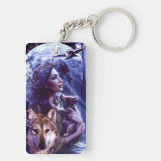 carry key acrylic resin moonlight wolf keychain