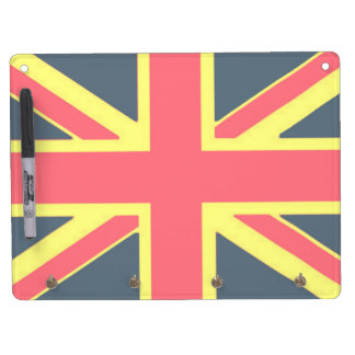 Carry-key and pencil (horizontal) Flag the U.K. Dry Erase Board With Keychain Holder