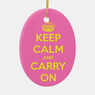 Carry On Bubblegum and Sunshine Ceramic Oval Ornament