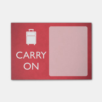 CARRY ON - Luggage - Funny Red Post-it Notes