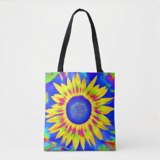 Carrying bag with multicolored motive for