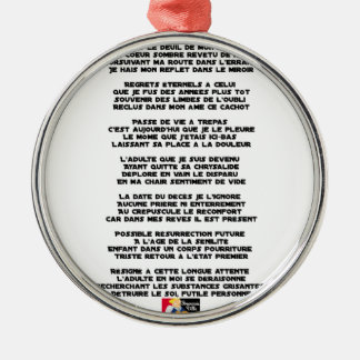Carrying the Mourning of my Childhood - Poem Metal Ornament