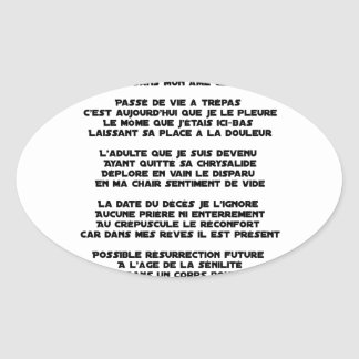 Carrying the Mourning of my Childhood - Poem Oval Sticker