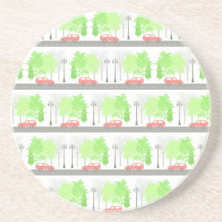 Cars and trees beverage coasters