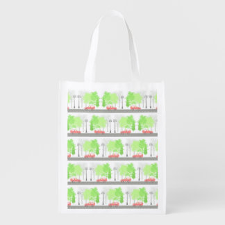 Cars and trees reusable grocery bag