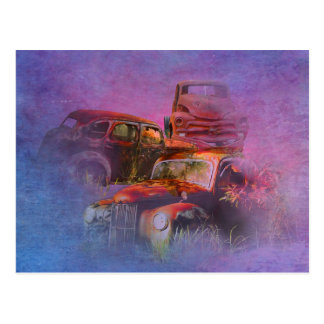 cars lost in jungle horizontal postcard