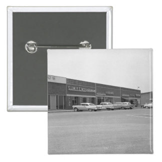 Cars on shopping centre parking B&W 2 Inch Square Button