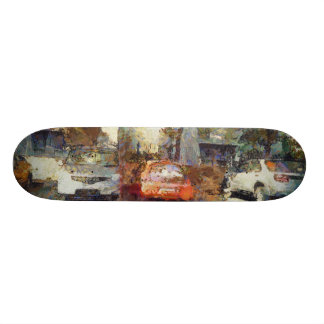 Cars parked custom skate board