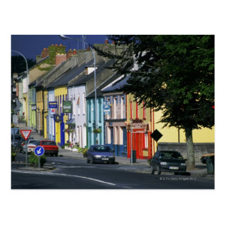 Cars parked in front of a building, Adare Postcard