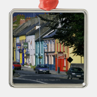 Cars parked in front of a building, Adare Silver-Colored Square Ornament
