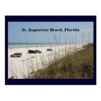 Cars Parked On The Beach Postcard