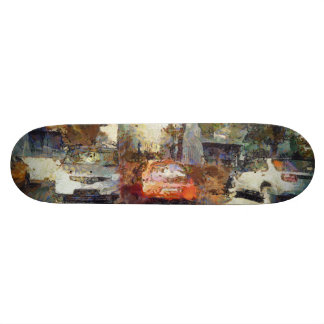 Cars parked skate board