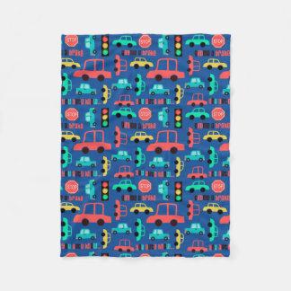Cars Pattern on Blue Fleece Blanket