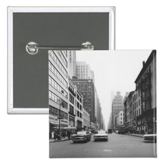 Cars riding on city street B&W 2 Inch Square Button