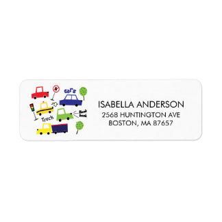 Cars & Trucks Baby Shower Address Label