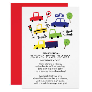 Cars & Trucks Baby Shower Book for Baby Card