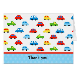 Cars Trucks Folded Thank You Note Cards Kid Boy