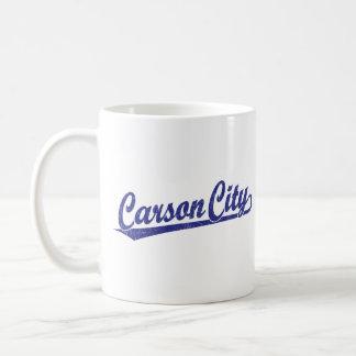 Carson City script logo in blue Coffee Mug